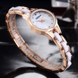 HK DOM Top Brand Rose Gold Ladies Dress Watches Luxury Vintage Women Rhinestone Wristwatches Japan Quartz Watch Waterproof