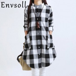 Envsoll 2017 Spring New Korean Lattice Pregnant Blouse Maternity Dress Long-sleeved Pregnancy Clothes For Pregnant Women LDS01