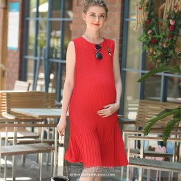 0023#2017 Summer Red Pleated Chiffon Maternity Long Dress Black Tank Vest Clothes for Pregnant Women Pregnancy Clothing Vestidos