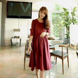 0075# Autumn Wine Red Cotton Nursing Dress for Maternity Mother Maxi Long Pregnancy Breastfeeding Clothes for Pregnant Women