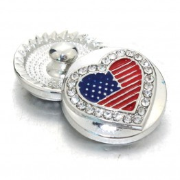 10 pcs/lot New Snap Jewelry Rhinestone American flag 18MM Snap Buttons Vintage Alloy Snap fit Snap Bracelet 060908