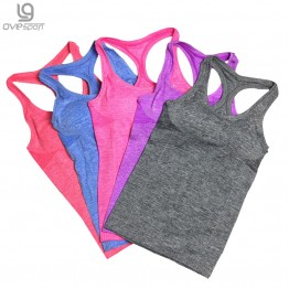 2016 Nylon/spandex Active Summer Women Tank Top Fitness Padded Bra Double Layers Quick Dry Ladies Fitness Tops Workout Vest 1014