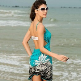 2016 Women Beach Dress Sexy sling beach wear dress sarong bikini cover-ups wrap Pareo skirts towel Open-Back swimwear