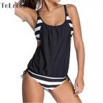 2017 Bikini Tankini Two Piece Women Black Bathing Suit Padded Brasil Sexy Swimming Suit Stripe Bottom Sport Swimwear Plus Size