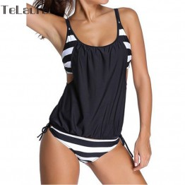 2017 Bikini Tankini Two Piece Women Black Bathing Suit Padded Brasil Sexy Swimming Suit Stripe Bottom Sport Swimwear Plus Size