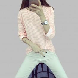 2017 Latest Spring/Autumn Fashion Women T-shirt O-neck Pullover Long sleeve Render Tops Stripe Loose Big yards T-shirt NZ48