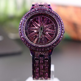 2017 Luxury Brand Watch Women Stainless Steel Diamond Watches Ladies Dress Watch Rotation Rhinestone Purple Watch Clock