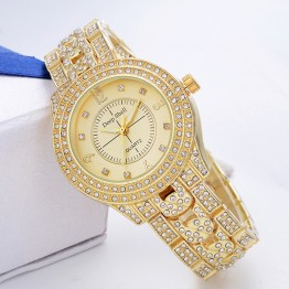 2017 New Arrival Luxury Brand Wristwatch Women Rhinestone Ladies Dress Watch Stainless Steel Diamond Quartz-Watches For Loves