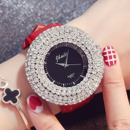 2017 New Fashion Shining Crystal Diamond Dial Leather Band Quartz Women Watch Luxury Top Brand Unique Dress Ladies Wrist Watches
