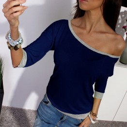 2017 New Spring Sexy Women 3/4 Sleeve Loose Casual Off Shoulder Tees T shirt Tops Multicolor Womens Plus Size XL T-shirt Q1725