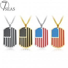 7SEAS Fashion American Flag USA Patriot Freedom Stars Necklace Stainless Steel 4 Colors Dog Tag Pendant Men Jewelry Gift GX1236