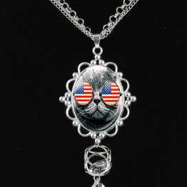 American Flag Day Long Tassel Necklace Patriotic Jewelry USA Star Spangled Pendant Handmade Silver Plated Statement Jewelry