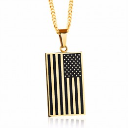 American Flag boards Pendant Unisex Chain Necklaces  Fashion Stainless Steel Jewelry For Women Men