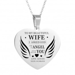 Heart wing Charms Stainless Steel Necklaces & Pendants for Women Choker Chain Necklace To My Beautiful Wife my baby Nameplate