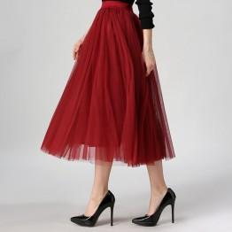 2017 Autumn & Winter Fashion Faldas Korean Style 8 M Big Swing Maxi Skirts Womens Jupe High Waist Tutu Adult Long Tulle Skirt
