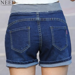 2017 Casual High Waist Shorts Women High Waisted Denim Shorts Elastic Waist Jeans Shorts Plus Size