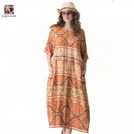 Jiqiuguer Women Exotic Print Long Dresses Vintage Plus Size O-neck Half Sleeve Loose Casual Summer Lady Boho Vestidos G172Y075