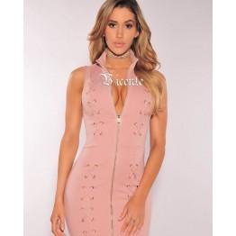 2017 New Free Shipping! Trendy Elegant Cross Criss Lace Up Front Zipper Sexy Sleeveless Celebrity Women Wholesale Bandage Dress