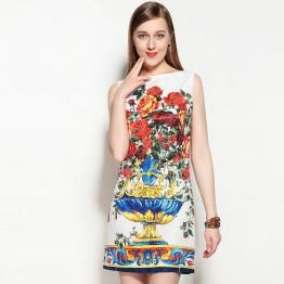 2017 New Summer Women Euorpean Sleeveless Print Tank Dress High Quality Above Knee Mini Slim Pretty Cute Dress
