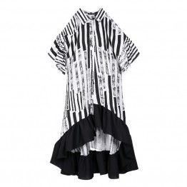 2017 New arrival loose striped hollow out patchwork dresses women summer ruffles single-breasted irregular ankle-length dress