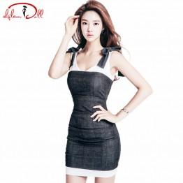 2017 Summer Cloth Women V-Neck Brief Dark Grey Strap Vestidos Sleeveless Bodycon Mini Sexy Club Dresses