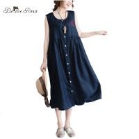 BelineRosa 2017 Women's Cotton Linen Dress Summer Sleeveless Plus Size Single Button Cotton Linen Vest DressZRK00009