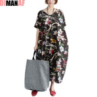 DIMANAF Plus Size Dress Women Summer Linen Floral Print Vintage Retro Style Female V-Neck Pocket Casual Loose Dresses Fit 100kg