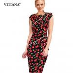 Women Summer Office Dress 2017 Elegant Black Flower Print Short Sleeve Knee-Length Slim Pencil Bodycon Party Dress vestidos