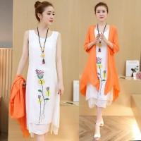 cotton linen vintage print plus size women casual loose long autumn summer dress vestidos femininos 2017 two piece dresses