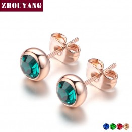 Simple Green Crystal OL Style Rose Gold Color Stud Earrings Colorful Gift For Women and Men Top Quality ZYE633