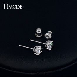 Beautiful White Gold Color 4 Prong Small High Grade 0.5ct Sona CZ  Post Stud Earrings