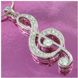 10pcs a lot fast selling fashion rhodium plated charming Treble clef music note necklace