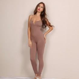 2 color solid fashion women strap spaghetti jumpsuit v neck sexy jumpsuits wholesale