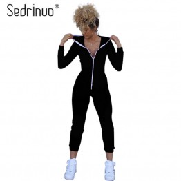 2017 Casual Women One Piece Outfits Jumpsuits Long Sleeve Bodycon Front Zipper Hooded Long Pants Sexy Black/Red Rompers Playsuit