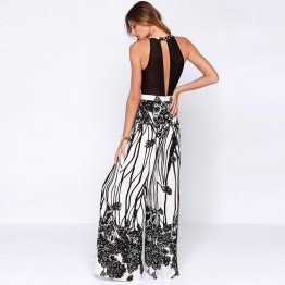 2017 Special Offer New Women Summer Sleeveless Blackless Bodysuits Ladies Sexy Wide Leg Elegant Printing Long Jumpsuit Xq1550