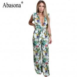 Abasona Rompers Womens Jumpsuit Wide Leg Pant Summer Printed Jumpsuits Bow Tie Playsuit Bodycon Party Jumpsuit Combinaison Femme