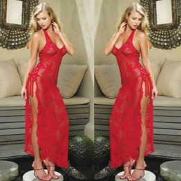 1pcs Womens Sexy Lingerie sexy lingerie longuette Backless dress Red Halter Neck Lace Nightgown long sexy pajamas 6 sizes