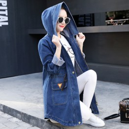 2017 Casual Denim Jacket Women Coat Windbreaker Long Sleeve Hooded Spring Jacket Women's Clothing Tops Slim Korean Style Hot New