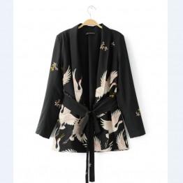 2017 Women Fashion Vintage Retro Loose Jacket Animal Crane Print Kimono Suit jacket Brand sashes Outwear Coat Tops CT002