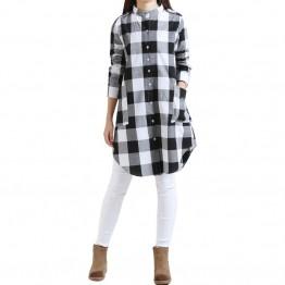 2017 Fashion Autumn Stand Collar Blusas Women Plaid Shirts Long Casual Loose Vintage Blouses Tops Oversize M-XXL