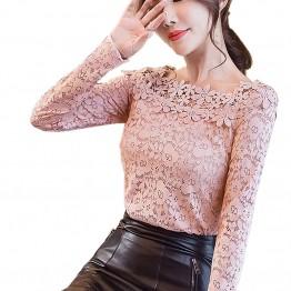 2017 New Slash Neck Hollow Long Sleeve Spring Autumn Women's Blouse Shirts Female Blusas Ladies Lace Blouse Shirt for Women Tops